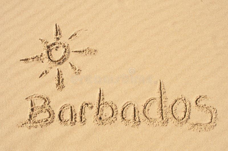 Barbados im Sand lizenzfreie stockbilder