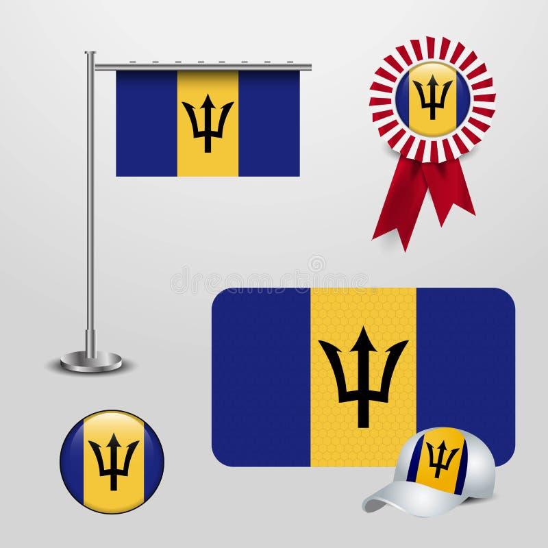 Barbados landsflagga som haning på pol, bandemblembaner, sporthatten och den runda knappen stock illustrationer