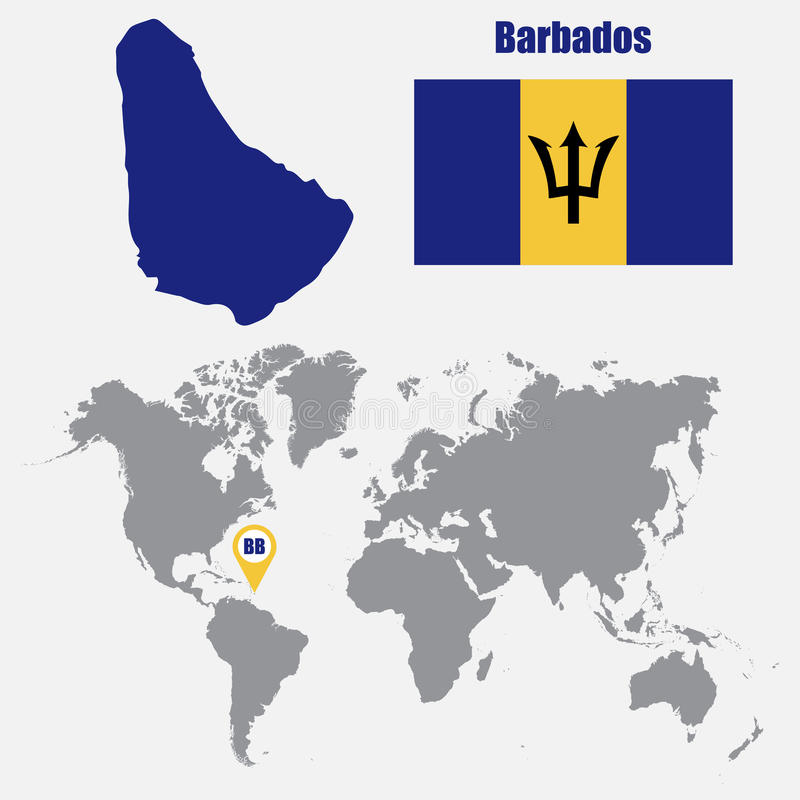 Barbados map on a world map with flag and map pointer vector barbados map on a world map with flag and map pointer vector illustration gumiabroncs Images