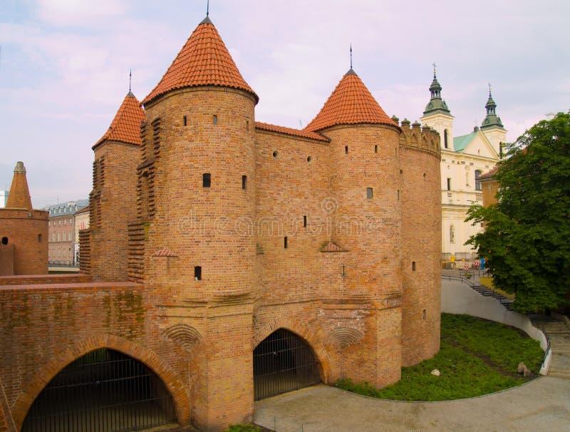 Barbakan in Warshau, Polen royalty-vrije stock foto