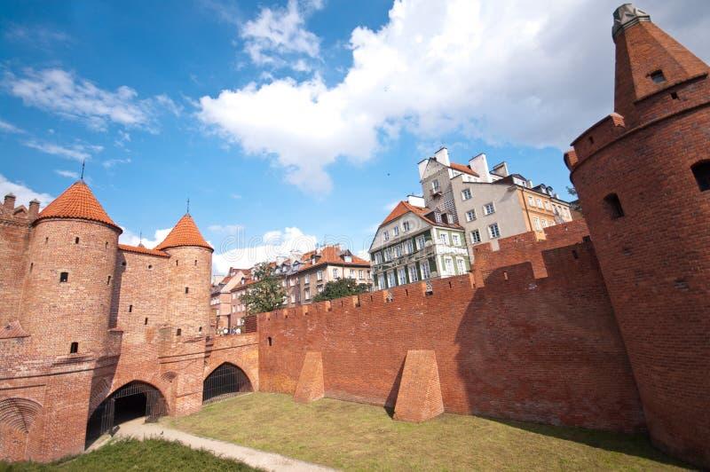 Barbakan, Warshau, Polen stock afbeeldingen