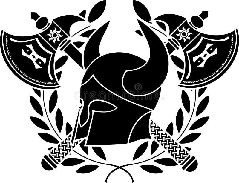 barbar- fantasihjälm för yxor vektor illustrationer