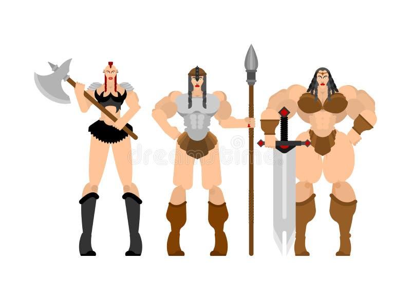 Barbar- kvinnauppsättning Dam viking Stark kvinnlig krigare med det stora bladet för vapen _ Stark kraftig medeltida legosoldat stock illustrationer