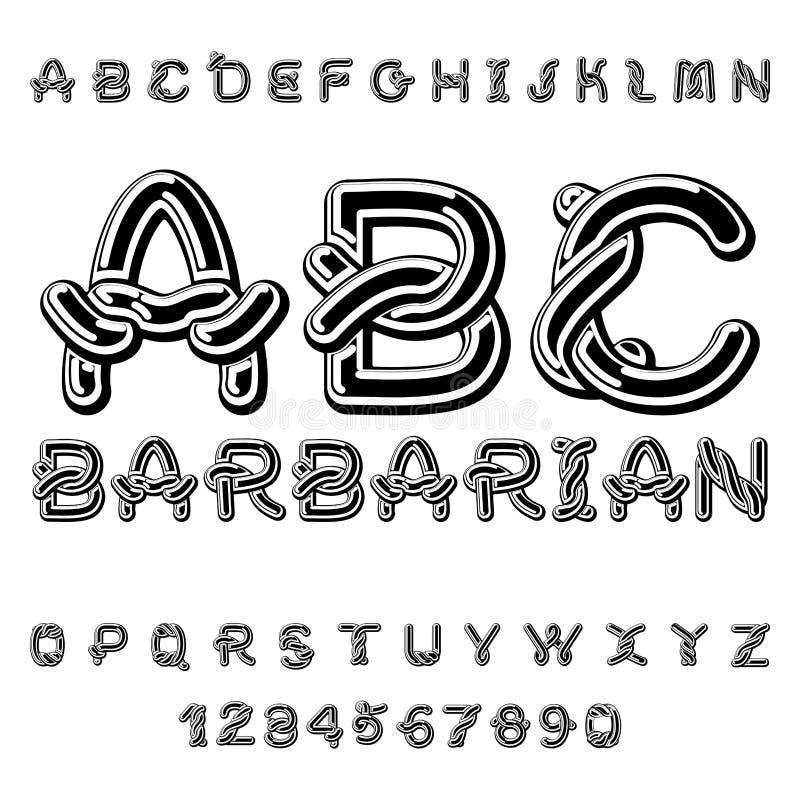 Barbar- stilsort abc för medeltida prydnad för norse keltiskt traditionellt royaltyfri illustrationer