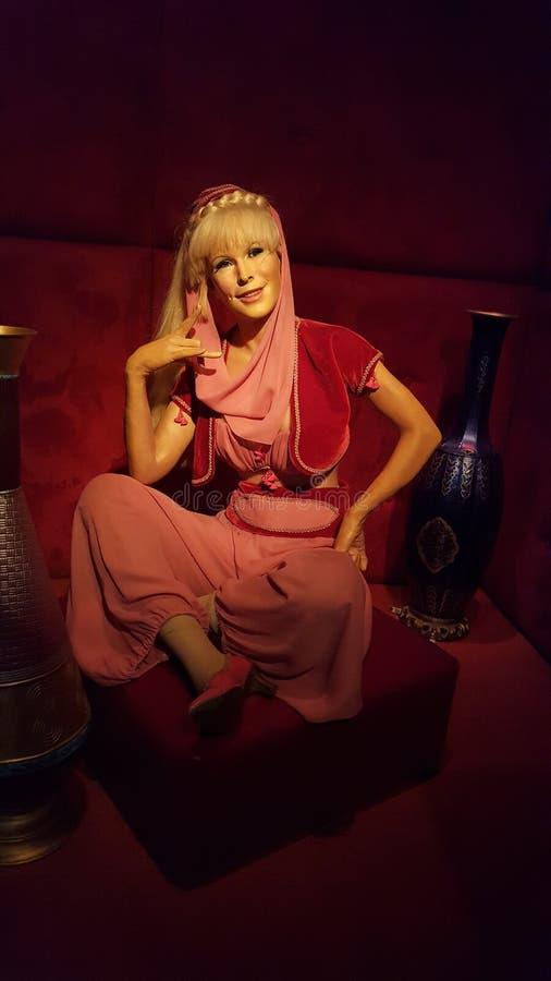 Barbara Eden Wax Statue I dröm av Jeanie arkivfoto