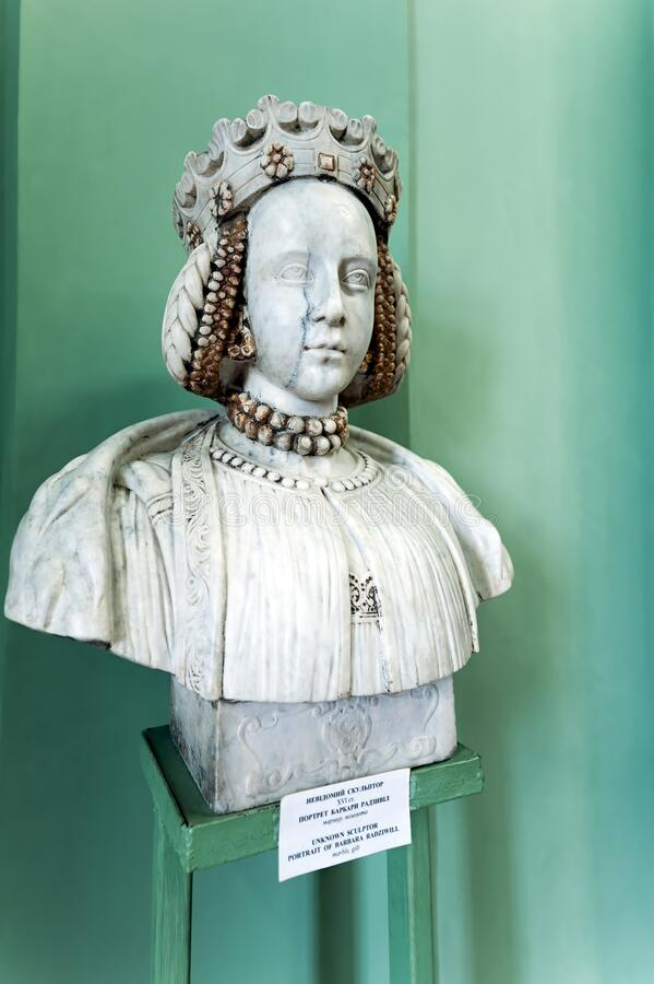 Barbara Radziwill bust in the Olesko Castle in Lviv Oblast in Ukraine. The bust of Barbara Radziwill in the Olesko Castle in Lviv Oblast in Ukraine royalty free stock images