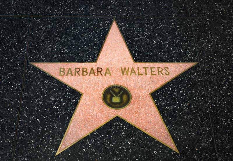 Barbara Walters Star op de Hollywood-Gang van Bekendheid stock foto