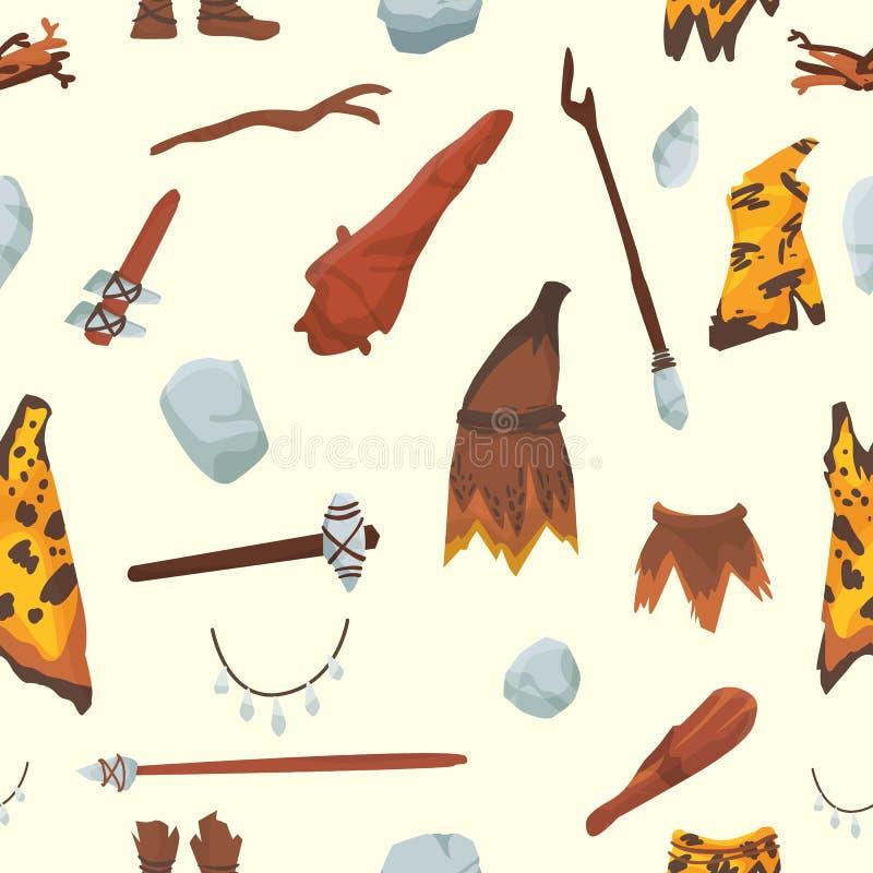 Barbarenstoneage inheemse ongerepte historische van de holbewonermensen van de jachtstoneage het wapen en het huis het levenssymb royalty-vrije illustratie