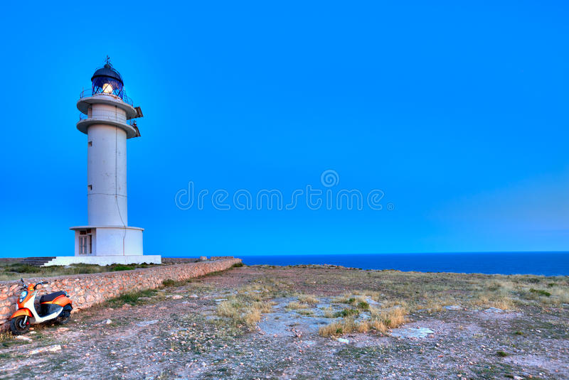 Barbaria Berberia Cape Lighthouse Formentera. In Balearic Islands stock photography
