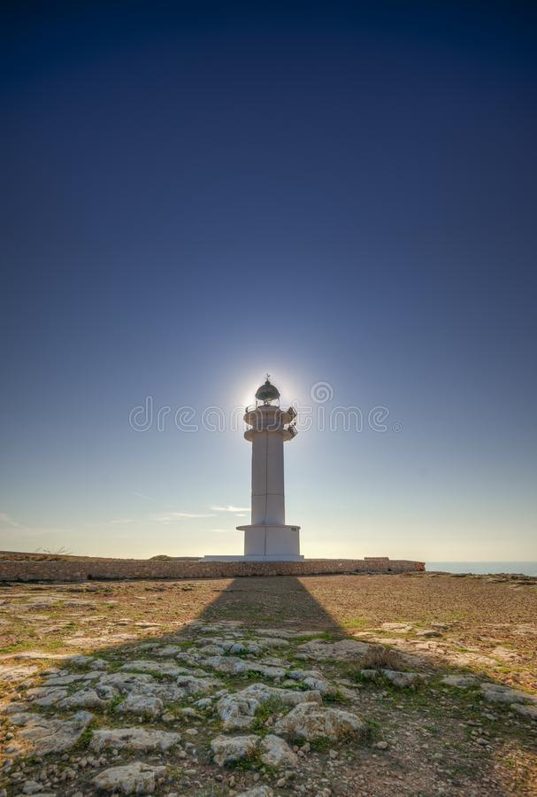 Barbaria cape lighthouse. The beautiful coast of Formentera royalty free stock image