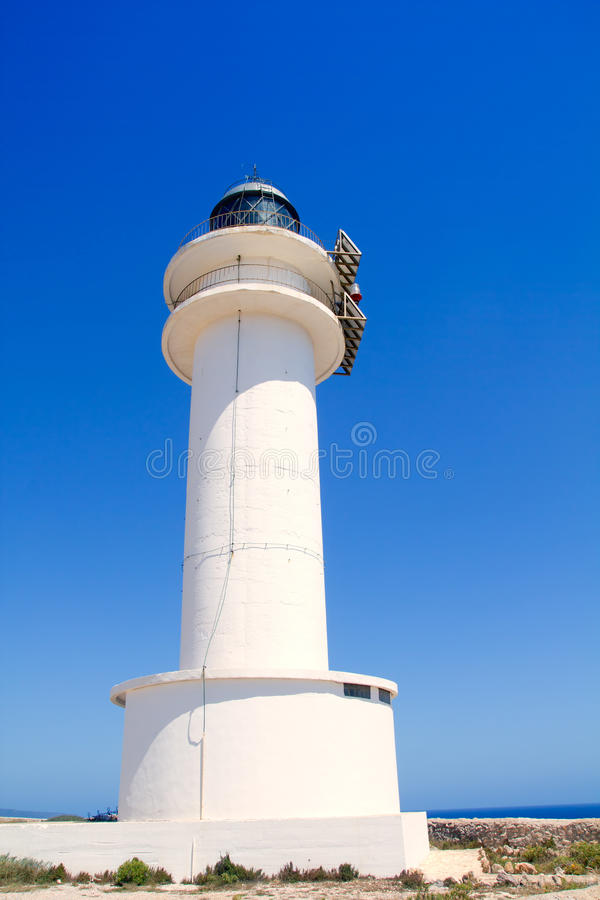Barbaria cape lighthouse in Formentera. Perspective stock images