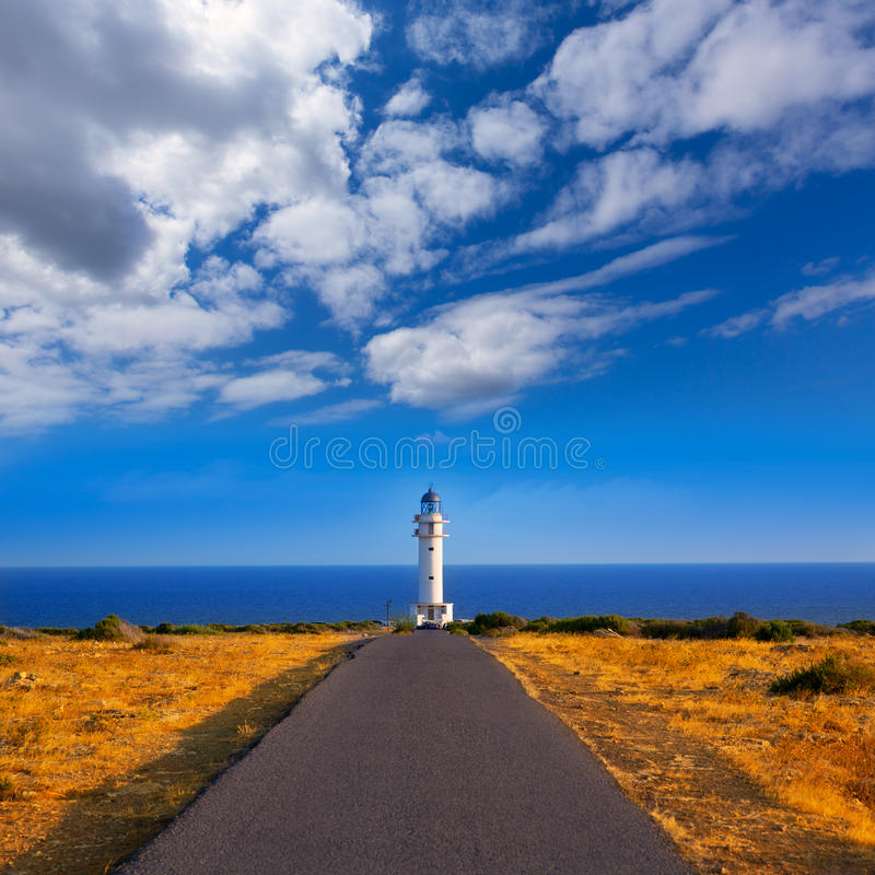 Barbaria cape Lighthouse in Formentera Balearic islands. Barbaria cape Lighthouse in Formentera Mediterranean Balearic islands of Spain stock image
