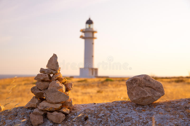 Barbaria cape Lighthouse in Formentera Balearic islands stock image