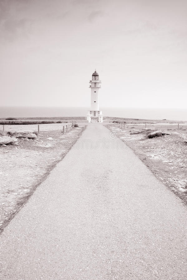 Barbaria Cape Lighthouse; Formentera. Balearic Islands; Spain in Black and White Sepia Tone royalty free stock photo