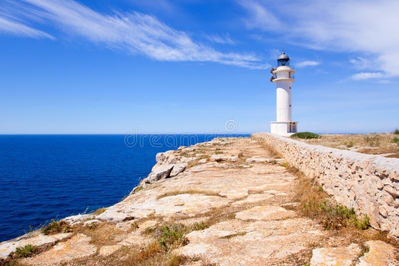 Barbaria Cape lighthouse in Formentera island. On Mediterranean Balearic sea stock photography