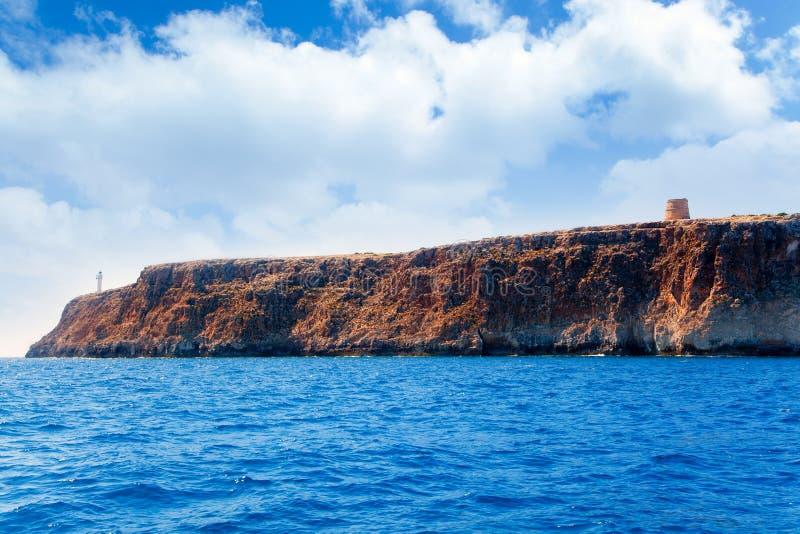 barbaria des Formentera garrovet latarni morskiej torre fotografia royalty free