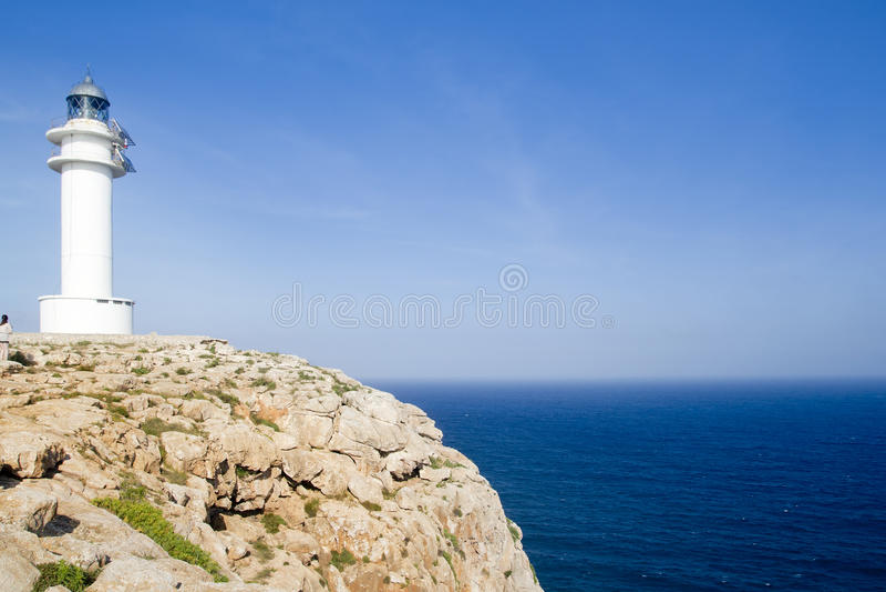 Barbaria Formentera cape blue Mediterranean sea. Barbaria Formentera cape in blue Mediterranean sea from Balearic islands royalty free stock photos