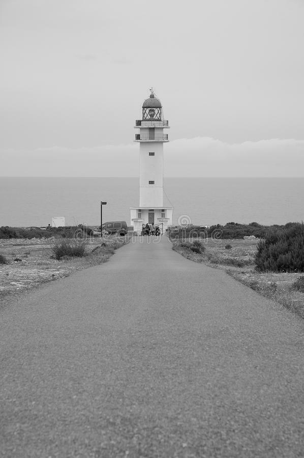 Barbaria lighthouse. Barbaria cape lighthouse in Formentera Balearic island stock photos