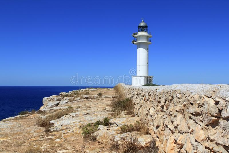 Barbaria lighthouse formentera Balearic islands. Blue sunny mediterranean day stock image