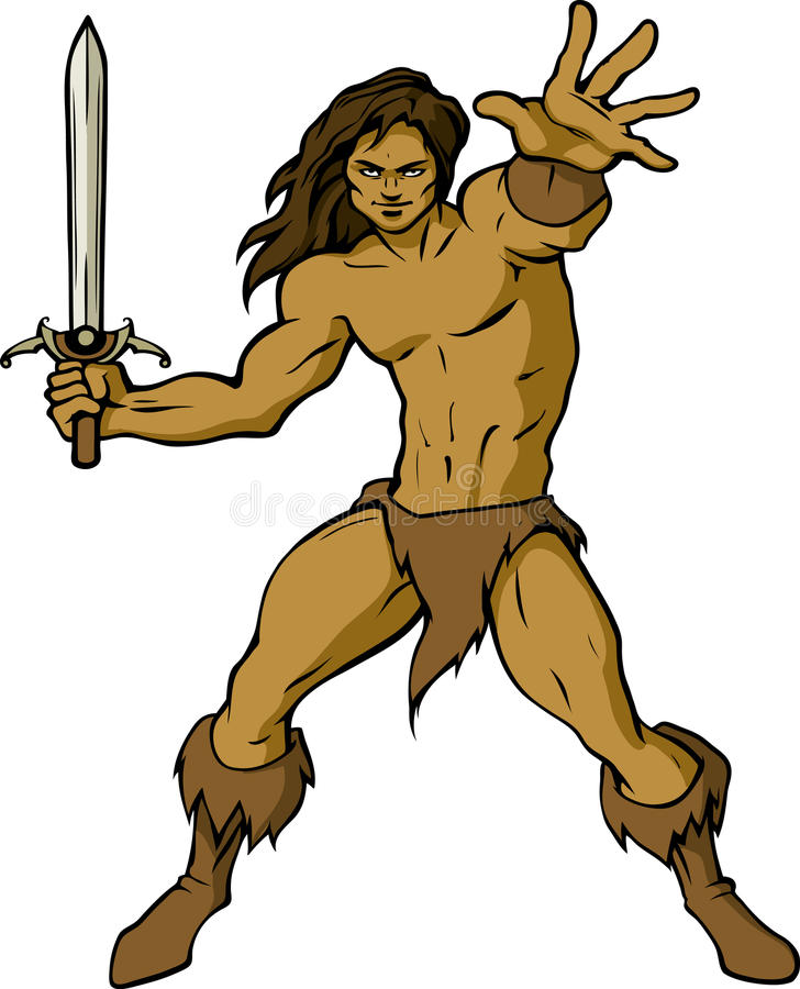 Barbarian. Illustration of a barbarian with a sword in his hands vector illustration