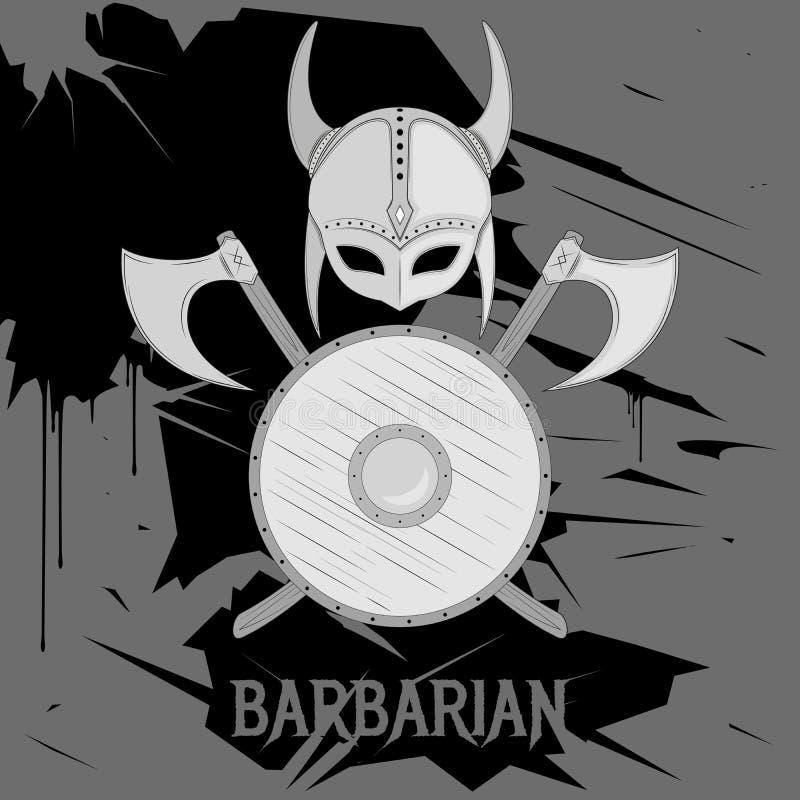 Barbarian armored logo. Barbarian armor logo on grunge background stock illustration