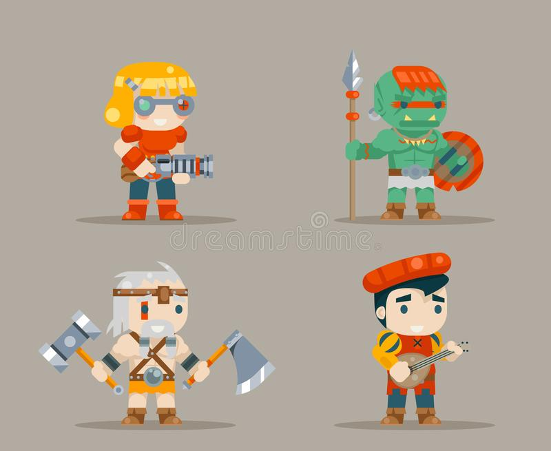 Barbarian berseker bard tribal orc engeneer inventor rifleman fantasy RPG game characters icons set vector illustration. Barbarian berseker bard tribal orc royalty free illustration