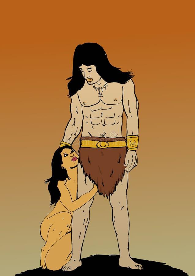 The barbarian couple illustration stock illustration