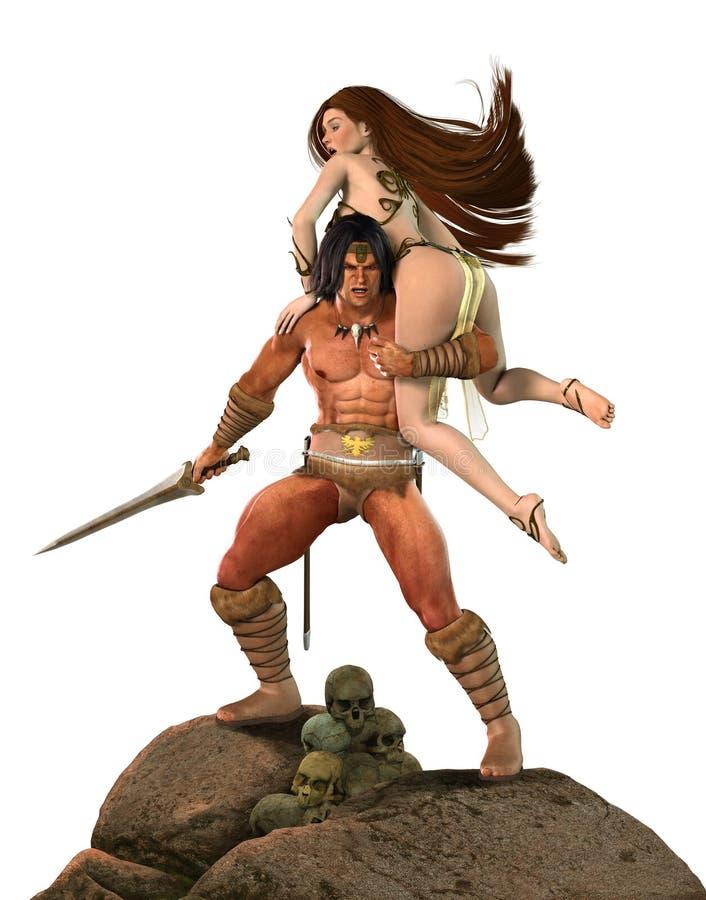 Barbarian Fantasy Warrior Fights for Princess stock illustration