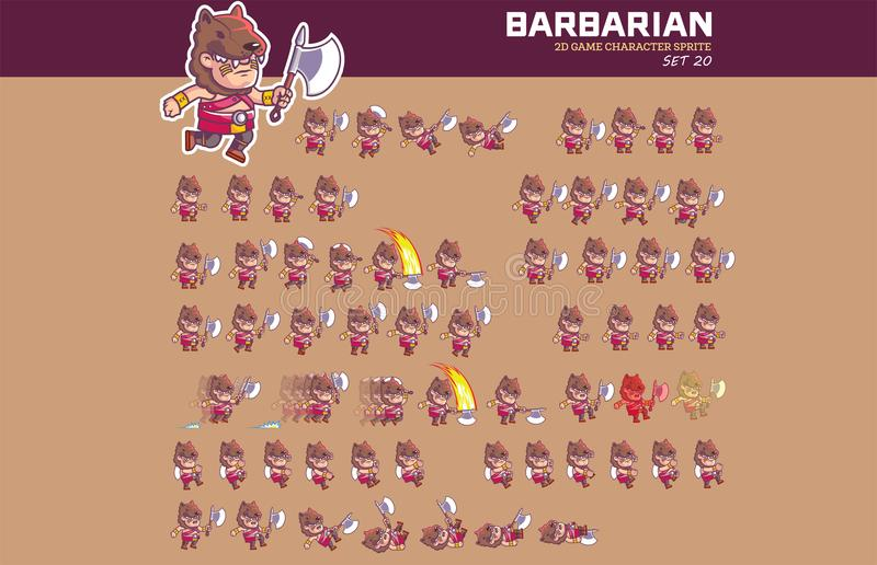 Barbarian Game Character Animation Sprite. Vector Illustration of Fun and Cute Barbarian Game Character Animation Sprite Frames stock illustration