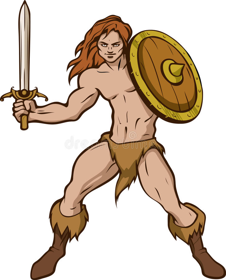 Barbarian with shield. Illustration of a barbarian with sword and shield in his hands vector illustration