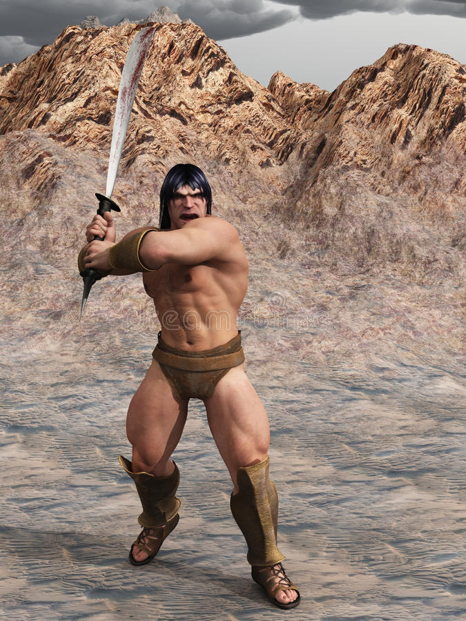 Barbarian warrior. Digital render of powerful barbarian warrior with bloody sword in two handed grip royalty free illustration
