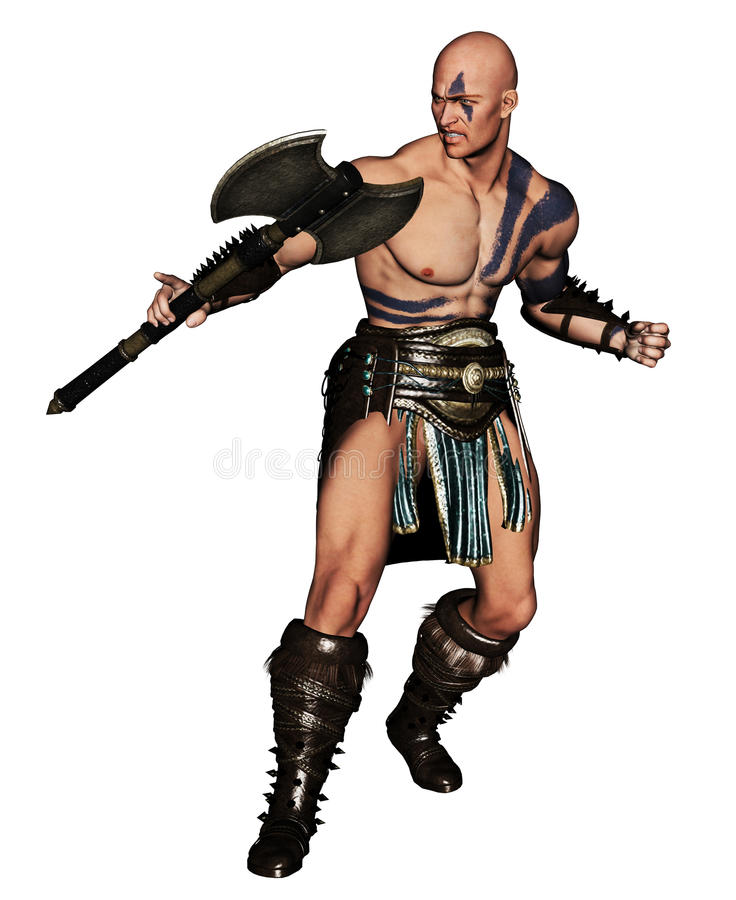 Barbarian warrior with axe. Body paintings royalty free illustration