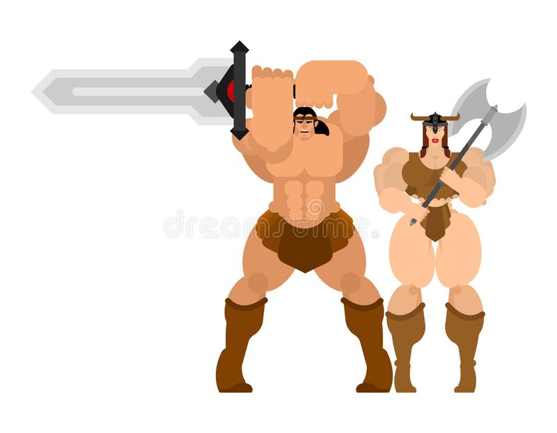 Barbarian warrior couple woman and man. berserk Family Strong. trong Powerful Medieval Mercenary Soldier lady and male stock illustration