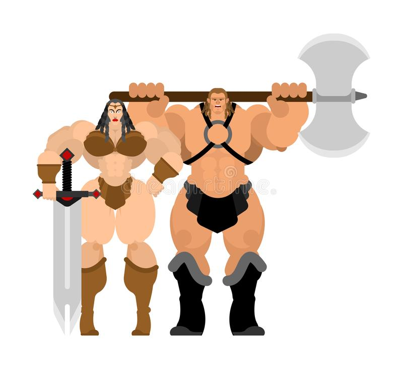 Barbarian warrior couple woman and man. berserk Family Strong. trong Powerful Medieval Mercenary Soldier lady and male.  vector illustration