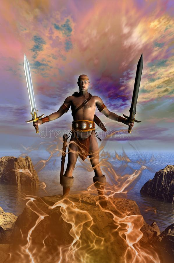 Barbarian warrior with two swords. A barbarian warrior armed with rwo swords in front of the sea, in the background some isles and rocks, 3d illustration vector illustration