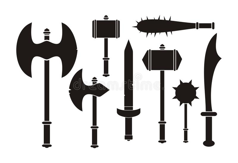 Barbarian weapon - silhouette. Suitable for illustrations vector illustration