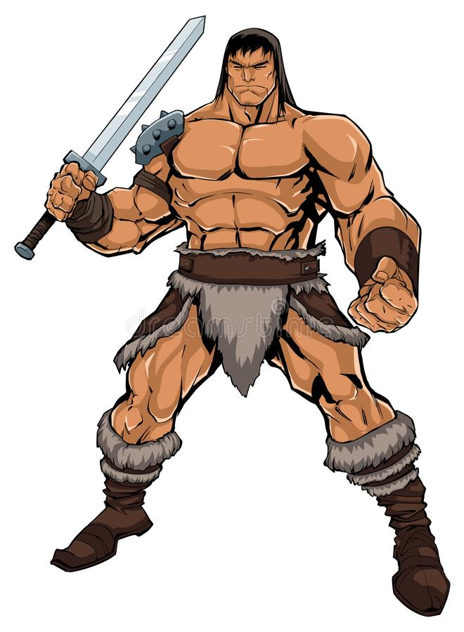 Barbarian on White. Comics style illustration of muscular barbarian warrior on white background vector illustration
