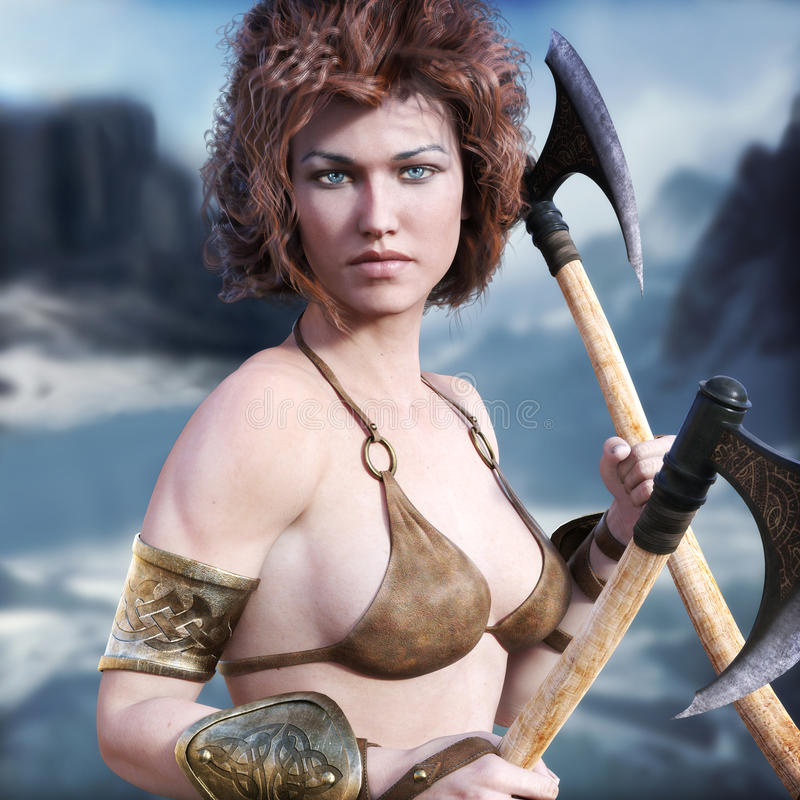Barbarian woman. Barbarian female with red hair and duel axes posing with a majestic winter background. 3d rendering stock illustration