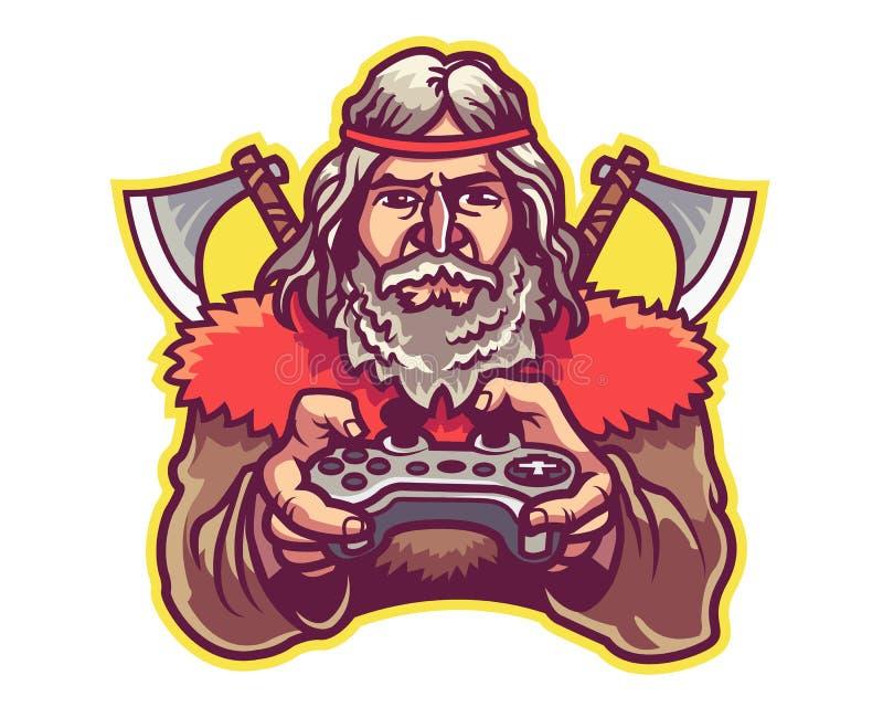Barbarisches haltenes Spiel-Steuerknüppel-Karikatur-Maskottchen Logo Badge lizenzfreie abbildung