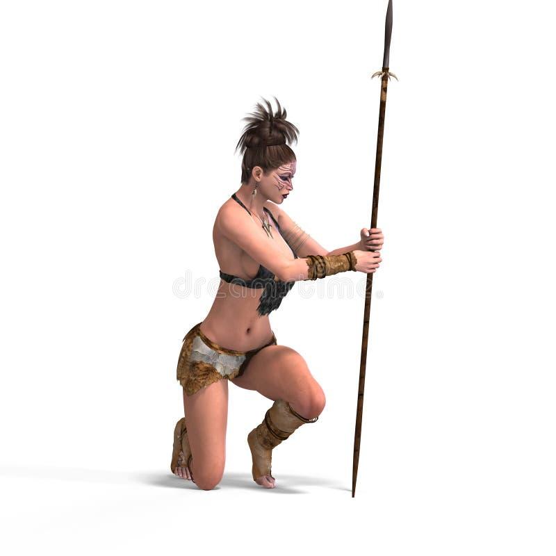 Barbaro femminile sexy di fantasia illustrazione di stock