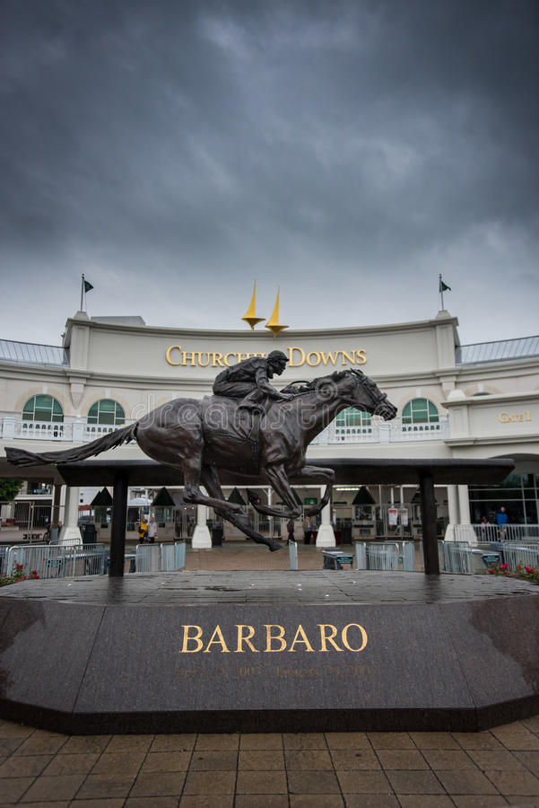 Barbaro Statue at Entrance to Churchill Downs stock image