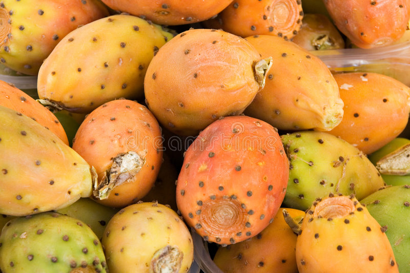 Barbary figs. (cactus pears) at the market stock image