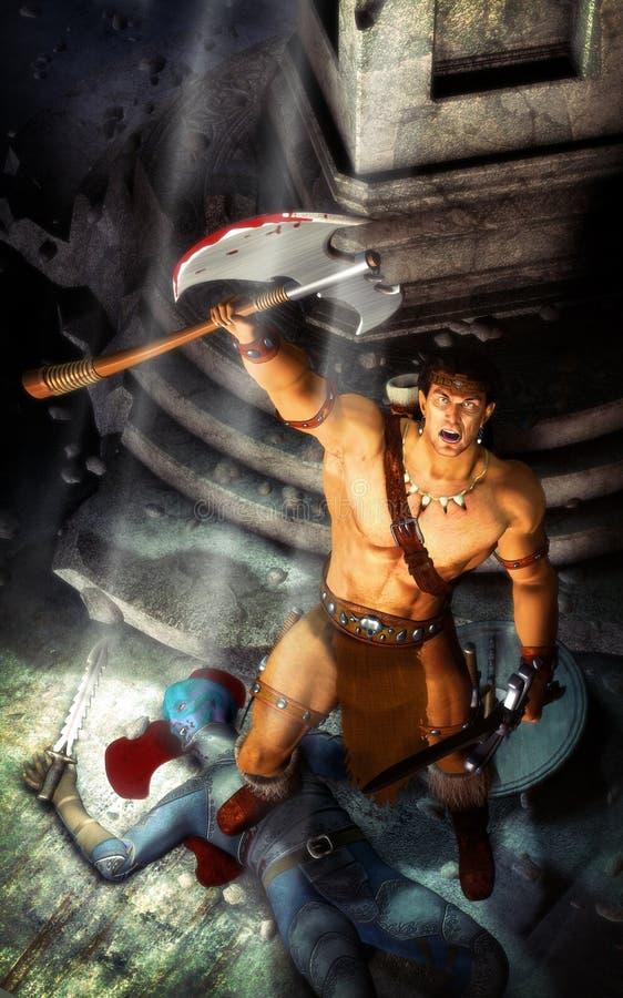 barbarzyńcy fantazi wojownik royalty ilustracja