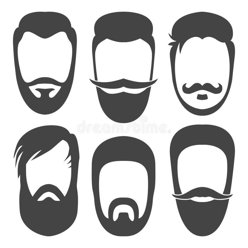 Barbas, bigodes ajustados ilustração royalty free