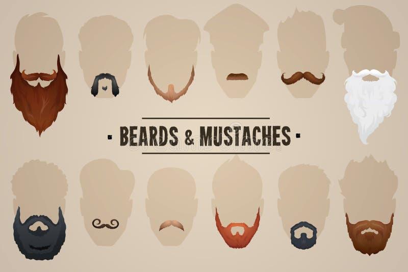 Barbas e bigodes ilustração royalty free