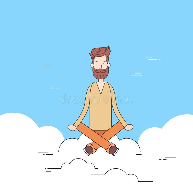 Barbe d'homme se reposant sur la médiation de nuage illustration libre de droits