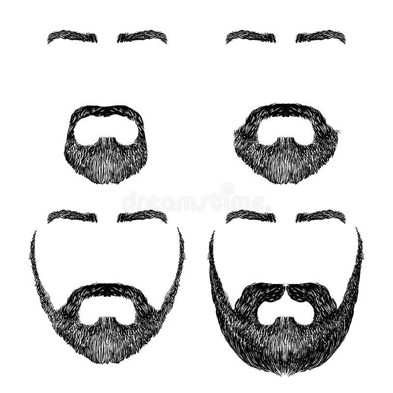 Barbe, moustache, sourcils illustration stock