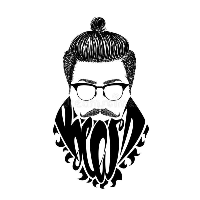 Barbe noire de logo illustration de vecteur