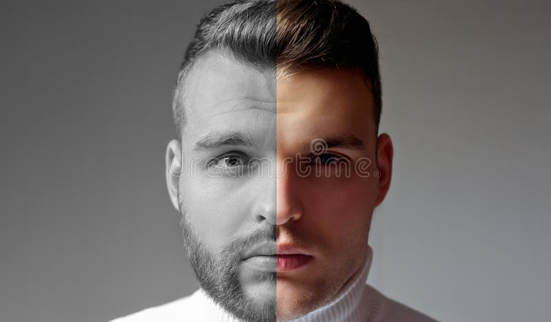Barbeado contra o homem não barbeado Depois que ou antes do barbeado Ajuste do homem farpado Cabeleireiro do penteado para o home imagem de stock royalty free