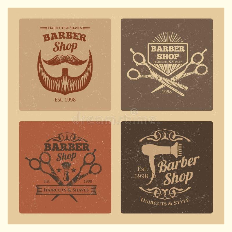 A barbearia do vintage do Grunge etiqueta o projeto do vetor ilustração do vetor